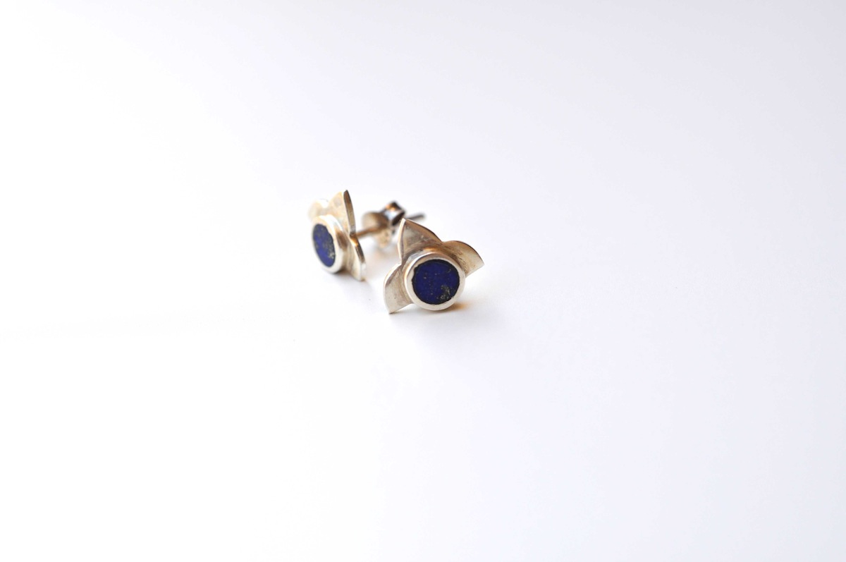 floris uk next clarke mini astley stud lapis yellow gold earrings vermeil