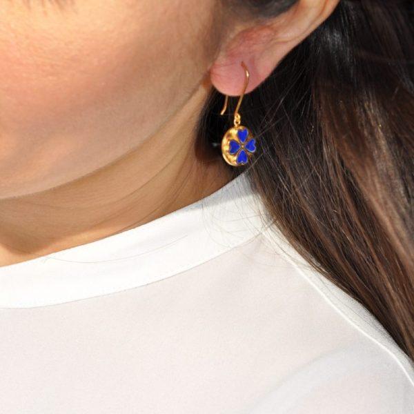 Nastaran Gold Plate And Lapis Earrings